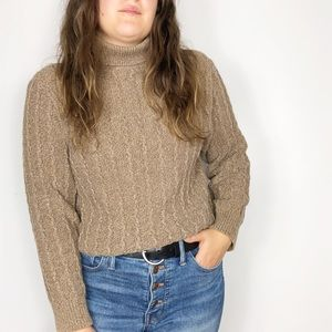 VINTAGE | Brown Cable Knit Turtleneck Sweater